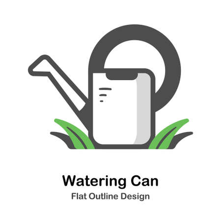 Watering can on the grass flat outline icon
