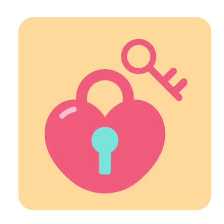 Heart with locker and key icon in flat color design vector illustration