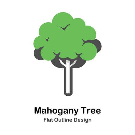 Baum flacher Umriss-Symbol