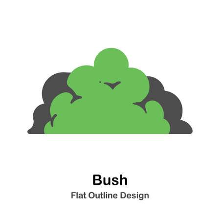 Bush flat outline icon