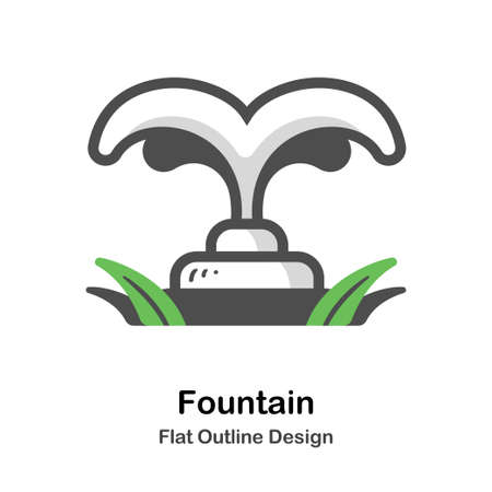 Fountain in the garden flat outline icon Ilustrace