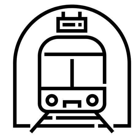 Train station with a train vector illustration in line stroke design