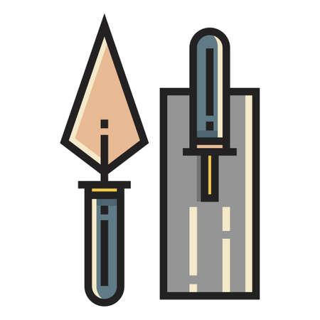 A trowel vector illustration in line color design