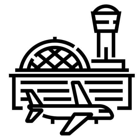 Airport and a airplane vector illustration in line stroke design  イラスト・ベクター素材
