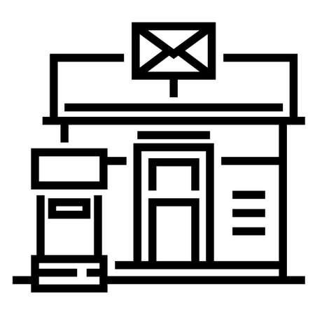 Bureau de poste et une illustration vectorielle de boîte aux lettres dans la conception de trait de ligne Vecteurs