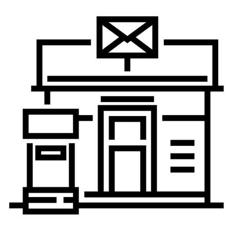Post office and a mailbox vector illustration in line stroke design