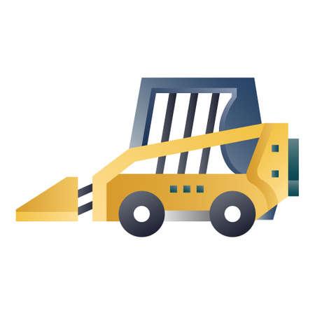 Skid steer loader vector illustration in gradient design Illustration