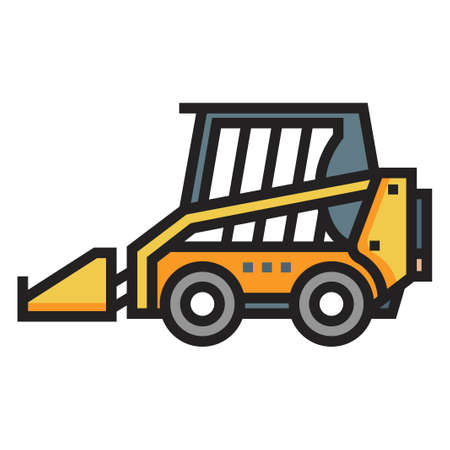 Skid steer loader vector illustration in line color design