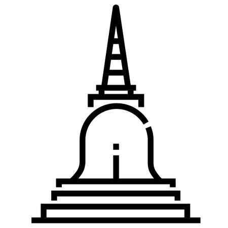 A pagoda vector illustration in line stroke design