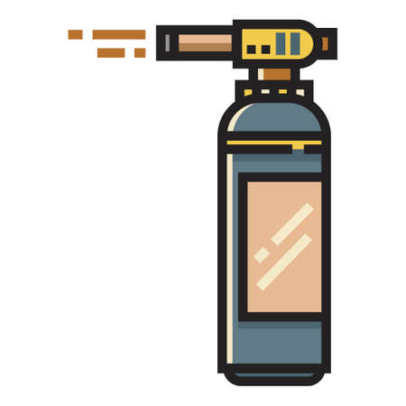 Blowtorch with fire vector illustration in line color design