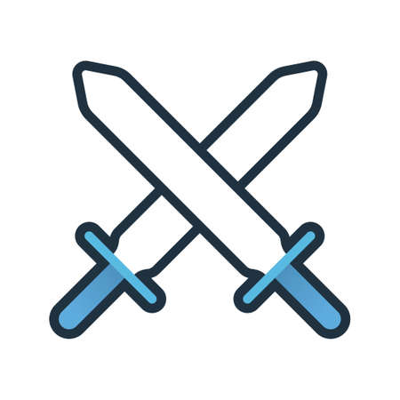 Two swords cross vector illustration in line color design