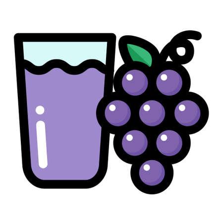 Grape and grape juice vector illustration in line color design