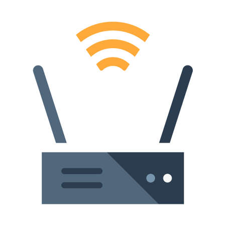 Router with signal icon vector illustration in flat color design