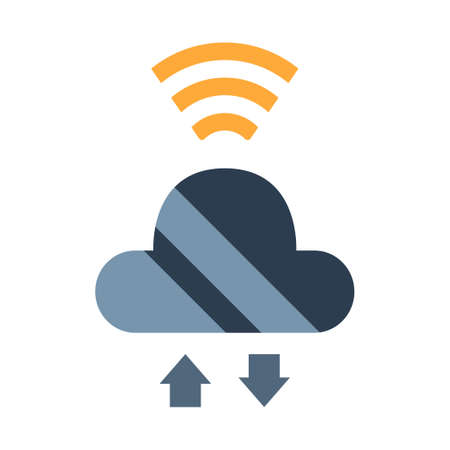 Cloud and up down arrow with signal icon vector illustration in flat color design