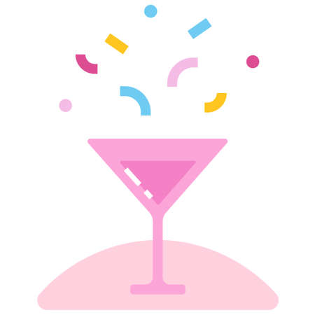 Wine glass with party popper icon vector illustration in flat color design