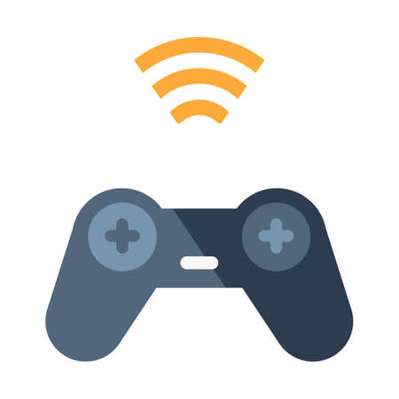 Game controller with signal icon vector illustration in flat color design Illustration