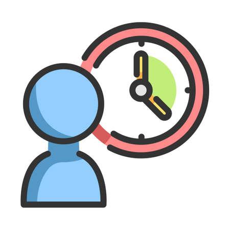 Person icon and a clock vector illustration in line color design