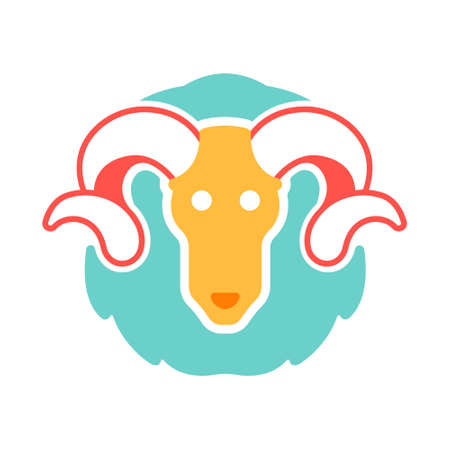 The ram icon in flat color design vector illustration Illustration
