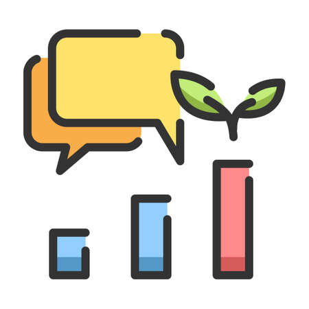 Charts  with sapling and chat bubbles vector illustration in line color design