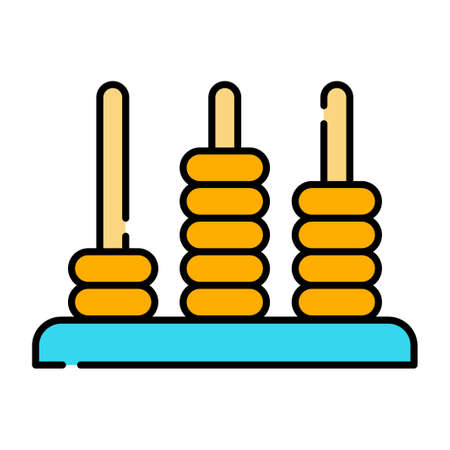 Wood stacking rings vector illustration in line color design