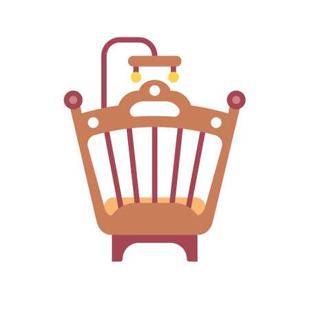 Icône de lit bébé en illustration vectorielle de couleur plate design