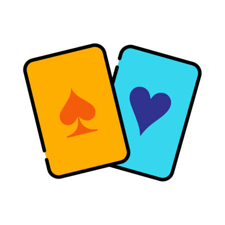 Spade card and heart card vector illustration in line color design