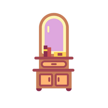 Dressing table with mirror icon in flat color design vector illustration Stockfoto - 111488780