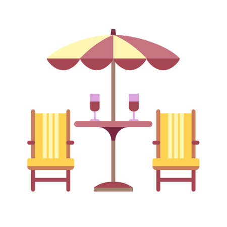 Patio with chairs icon in flat color design vector illustration
