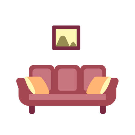 Couch with pillows icon in flat color design vector illustration Ilustrace