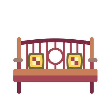 Bench with pillows icon in flat color design vector illustration
