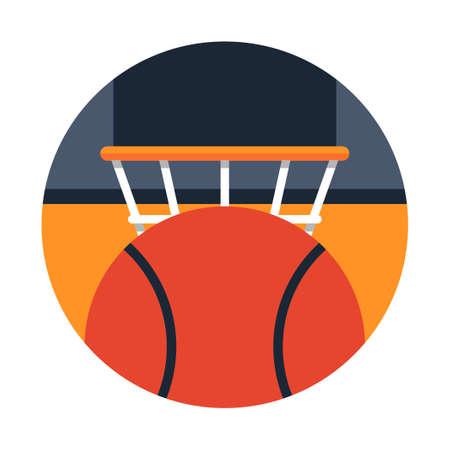 Basketball and basketball hoop vector illustration in flat color design Banque d'images - 107308832