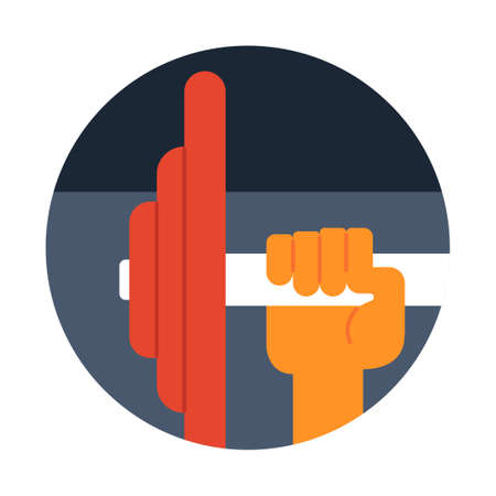 Hand with barbell vector illustration in flat color design Ilustrace
