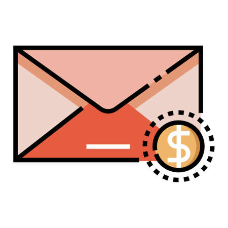 Mail with dollar coin icon vector illustration in line color design