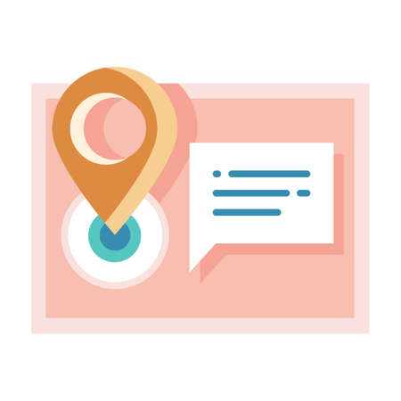 Pinpoint with address on chat bubble vector illustration in flat color design