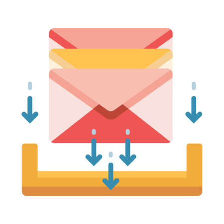 Mails with down arrows vector illustration in flat color design