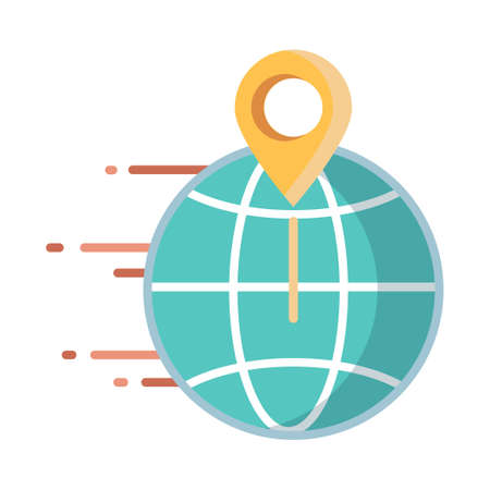 World icon moving with pinpoint vector illustration in flat color design