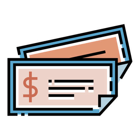 Paper with a dollar icon vector illustration in line color design
