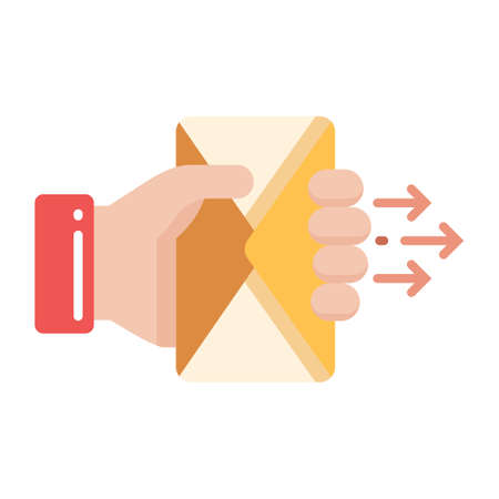 Hand hold a mail vector illustration in flat color design