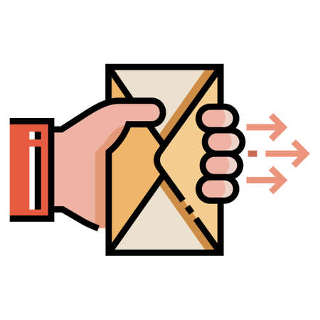 Hand hold a mail vector illustration in line color design