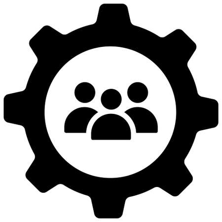 People in gear icon vector illustration in solid color design