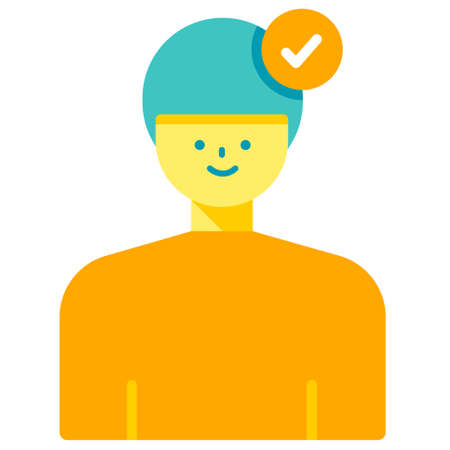 Male with checkmark icon vector illustration in flat color design