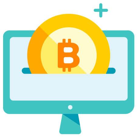 Bitcoin icon pass through computer screen vector illustration in flat color design