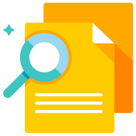 Documents with magnifying glass vector illustration in flat color design