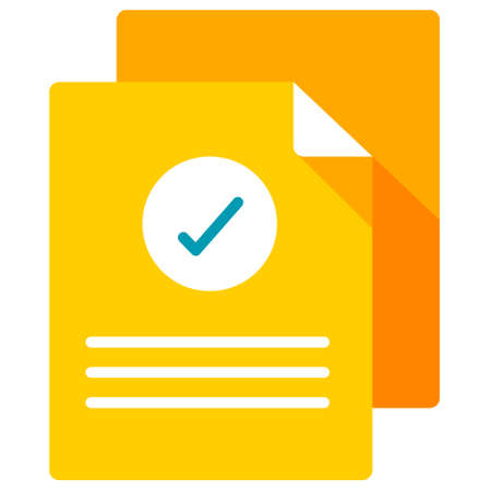 Documents with checkmark icon vector illustration in flat color design