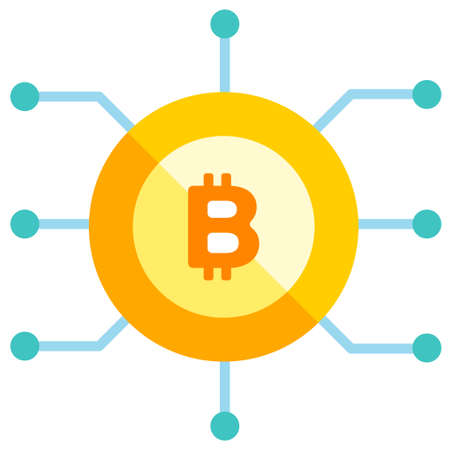 Bitcoin icon with circuit line vector illustration in flat color design