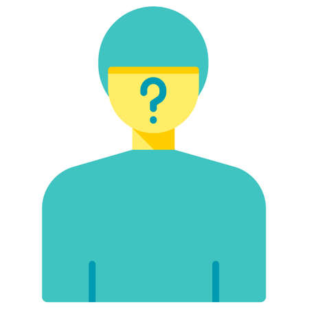 Man with question mark on face vector illustration in flat color design Foto de archivo - 107443801