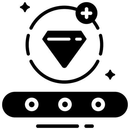 Conveyor and diamond with plus icon in circle line vector illustration in solid color design