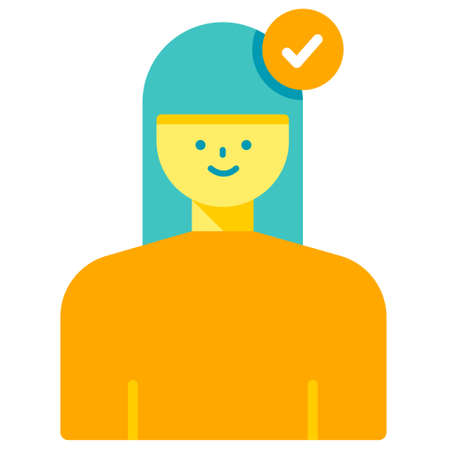 Female with checkmark icon vector illustration in flat color design