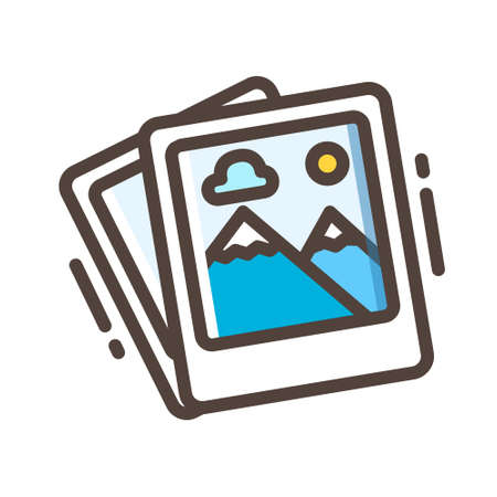 Stack photos icon in line color design vector illustration