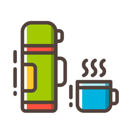 Vacuum flask with cup icon in line color design vector illustration